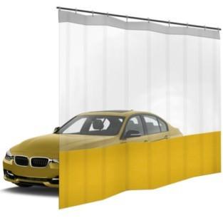 Шторы ПВХ для автомойки с окном, цвет желтый 1м³